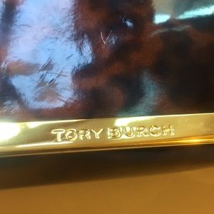 TORY BURCH Sunglass/Eyeglass Case.  Tortoise/gold